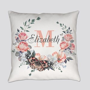 Peach Floral Wreath Monogram Everyday Pillow