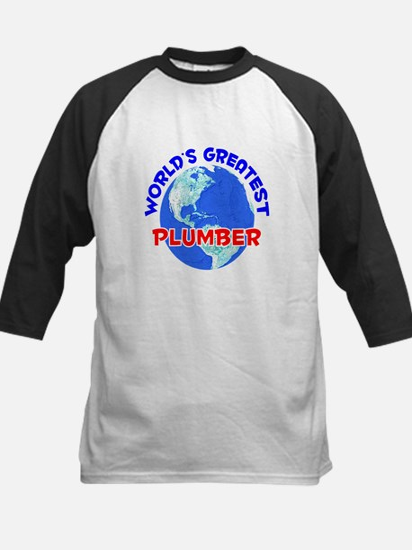 World's Greatest Plumber (E) Kids Baseball Jersey
