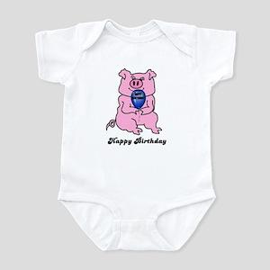 happy birthday huge pig Infant Bodysuit