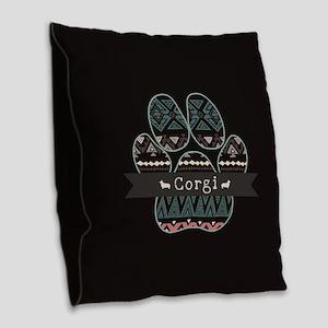 Corgi Burlap Throw Pillow