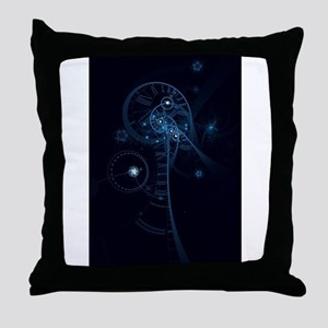 Blue Abstract Human Brain & Spinal Co Throw Pillow