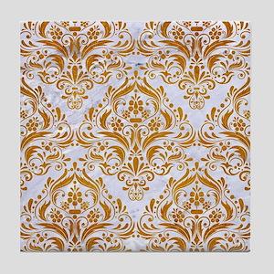 DAMASK1 WHITE MARBLE & YELLOW GRUNGE Tile Coaster