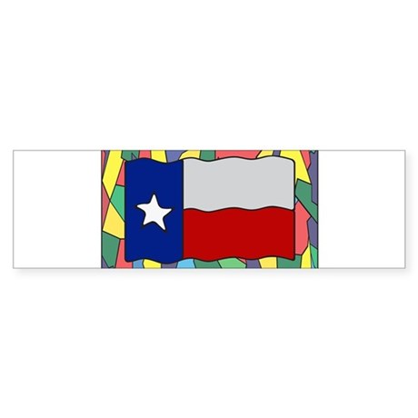 Texas Flag On Stained Glass Bumper Sticker