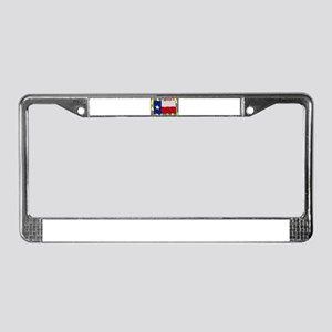 Texas Flag On Stained Glass License Plate Frame