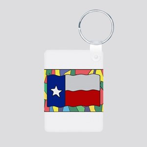 Texas Flag On Stained Glass Keychains