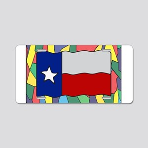 Texas Flag On Stained Glass Aluminum License Plate