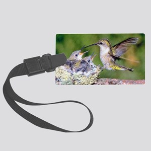 Baby Hummingbirds Large Luggage Tag