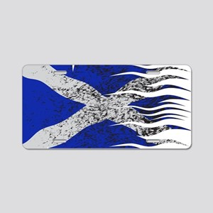 Wavy Scotland Flag Grunged Aluminum License Plate