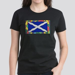 Scotland Flag On Stained Glass T-Shirt