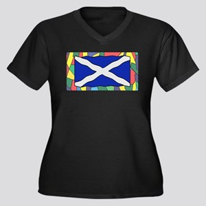 Scotland Flag On Stained Glass Plus Size T-Shirt
