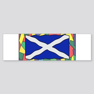Scotland Flag On Stained Glass Bumper Sticker