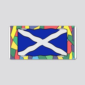 Scotland Flag On Stained Gl Aluminum License Plate