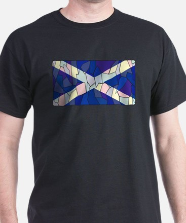 Scotland Flag Stained Glass Window T-Shirt