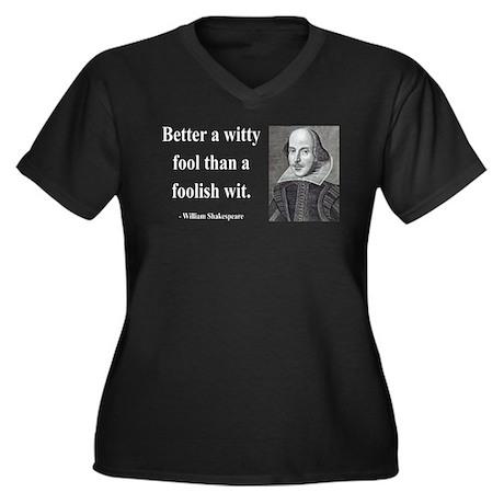 Shakespeare 11 Women's Plus Size V-Neck Dark T-Shi