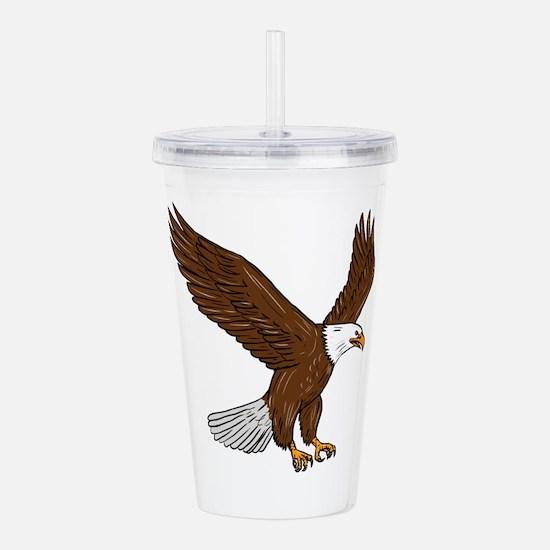 Bald Eagle Flying Drawing Acrylic Double-wall Tumb