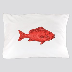 Australasian Snapper Swimming Drawing Pillow Case