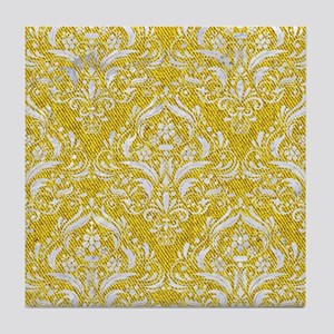 DAMASK1 WHITE MARBLE & YELLOW DENIM Tile Coaster
