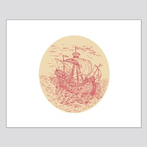 Tall Ship Sailing Stormy Sea Oval Drawing Posters