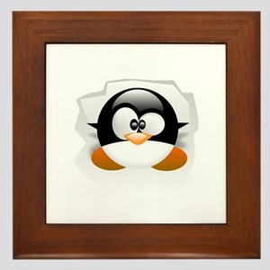 Tux looking up Framed Tile
