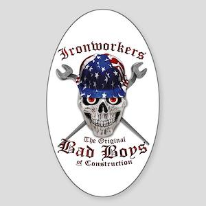 Ironworker Bad Boys Us Flag Hardhat Sticker