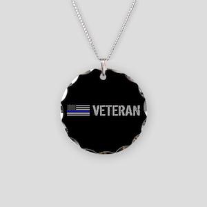 Police: Veteran (Thin Blue L Necklace Circle Charm
