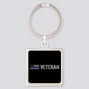 Police: Veteran (Thin Blue Line) Square Keychain