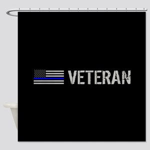 Police: Veteran (Thin Blue Line) Shower Curtain