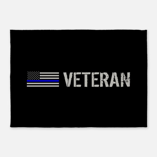 Police: Veteran (Thin Blue Line) 5'x7'Area Rug