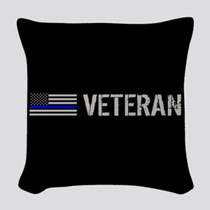 Police: Veteran (Thin Blue Lin Woven Throw Pillow