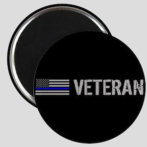 Police: Veteran (Thin Blue Line) Magnet