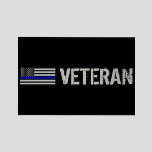 Police: Veteran (Thin Blue Line) Rectangle Magnet