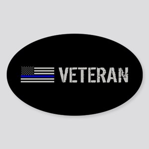 Police: Veteran (Thin Blue Line) Sticker (Oval)