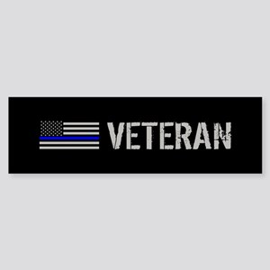 Police: Veteran (Thin Blue Line) Sticker (Bumper)