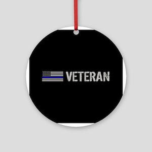 Police: Veteran (Thin Blue Line) Round Ornament