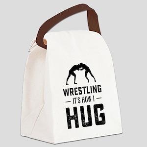 Wrestler How I Hug Wrestling Gift Canvas Lunch Bag