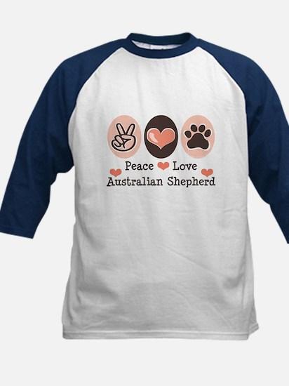 Peace Love Australian Shepherd Kids Baseball Jerse