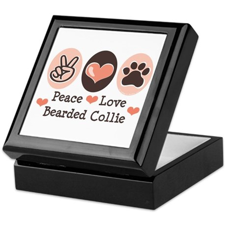 Peace Love Bearded Collie Keepsake Box