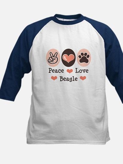 Peace Love Beagle Kids Baseball Jersey