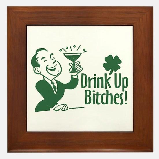 Drink Up Bitches Retro St Patricks Day Framed Tile