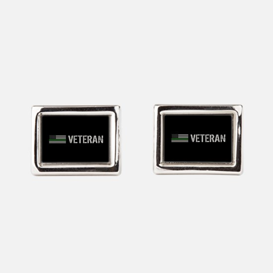 Thin Green Line: Veteran Rectangular Cufflinks