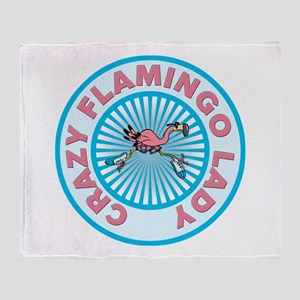 Crazy Flamingo Lady Throw Blanket