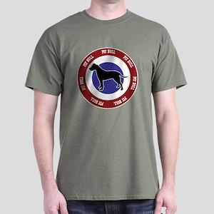 Uncropped Pit Bull Bullseye Dark T-Shirt