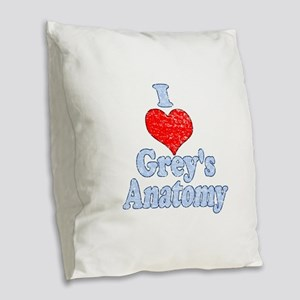 Vintage I heart Grey's Anatomy Burlap Throw Pillow