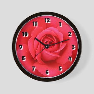 Red Rose Romance Wall Clock