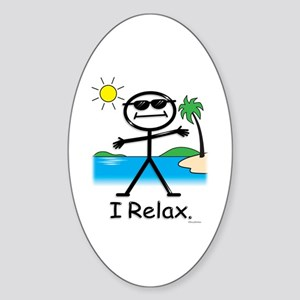 Relax Stick Figure Oval Sticker