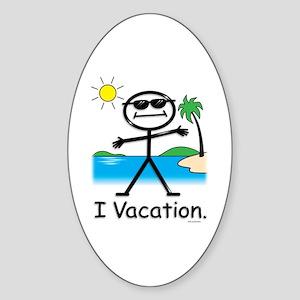 Vacation Stick Figure Oval Sticker
