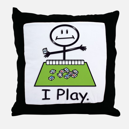 Mahjong Stick Figure Throw Pillow
