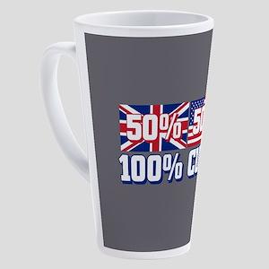 50% American 50% British 17 oz Latte Mug