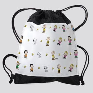 Peanuts Gang Collage White Drawstring Bag
