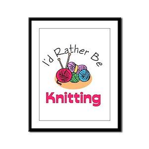 I'd Rather Be Knitting Framed Panel Print